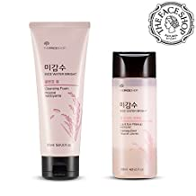 The Face Shop Rice Water Bright Cleansing Foam (120mL/4.0Oz) &Lip Eye Remover (145mL/4.9Oz) Set Mositurizing And Brightening Care For All Skin Types