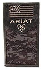 The Ariat® Sport Patriot Rodeo Wallet has a tough exterior and an organized interior that was made to keep up with your on-the-move life.  Distressed leather rodeo wallet with camo-printed canvas insert.  Features embroidered American flag an...