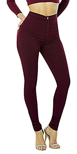 US&R Women's Skinny Burgundy Jeans Comfortable Casual Fitted Mid Waisted, Burgundy 8 ,Manufacturer(XL)
