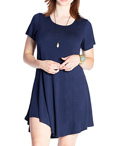 JollieLovin-Womens-Tunic-Casual-Short-Sleeve-Swing-Loose-T-shirt-Dress