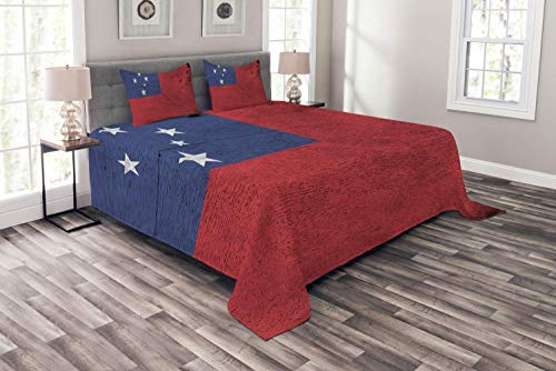 (Lohebhuic Samoa Bedspread Illustration of National Flag on Wooden Plate Effect Backdrop Decorative Quilted 3 Piece Coverlet Set with 2 Pillow Shams,Queen)