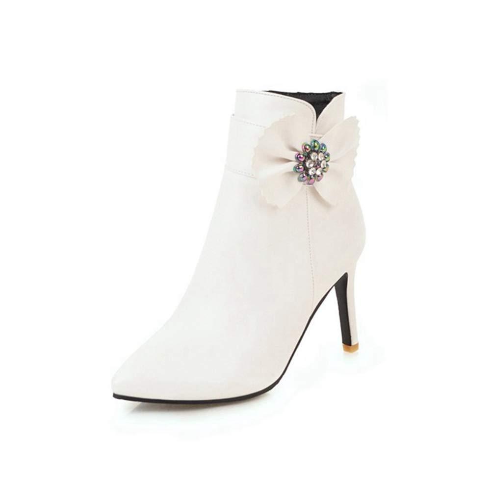 Damen Fashion Schleifen Winter Stiefeletten Spitz Stiletto Strass Reißverschluss Leder Kurze Stiefelie  | Sehr gute Qualität  | Leicht zu reinigende Oberfläche