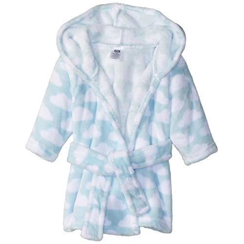 Hudson Baby Soft Plush Bathrobe, Blue Clouds, 0-9 Months