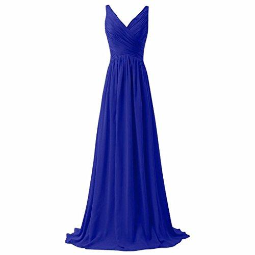 QIYUN.Z Mujeres V-Cuello Bandolera Backless Largo Vestido De Cola De La Dama De Honor Del Baile De Fin De Curso Del Baile De Fin De Curso Azul Brillante
