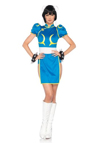 [Leg Avenue Women's Street Fighter 3 Piece Chun-Li Costume, Blue, Small/Medium] (Ryu Costume)