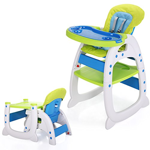 LAZYMOON 3 in 1 Toddler Highchairs Booster Seats Convertible High Chair w/ Feeding Tray Blue-Green