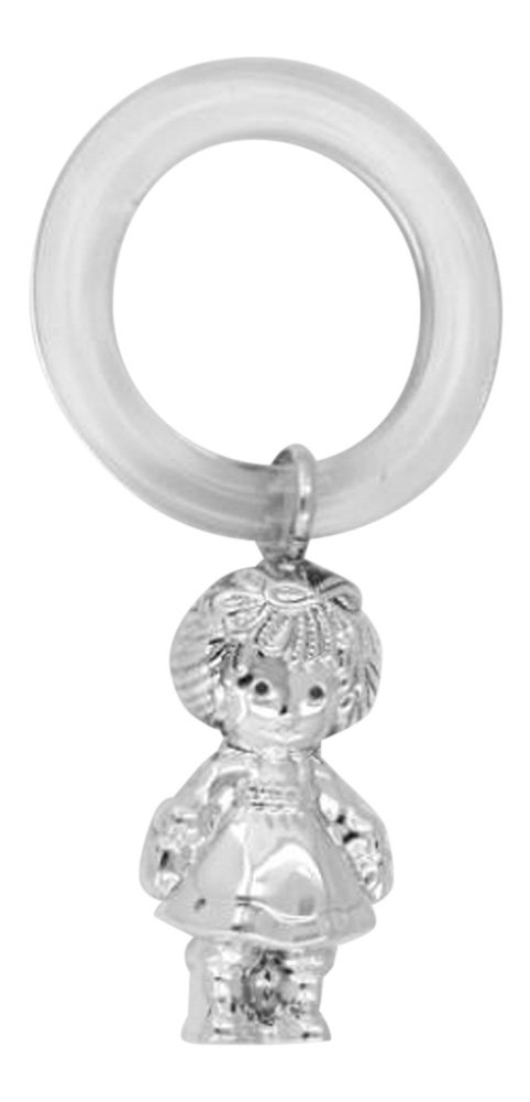 Sterling Silver Rattle - Raggedy Ann Teething Ring Silver Mine Gifts