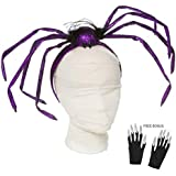 Halloween Headband Giant Lace and Feather Spider for Women Girls Costume Accessory Free Bonus: Glittery Nail Gloves