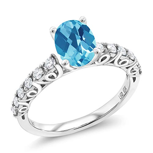 (1.60 Ct Oval Checkerboard Swiss Blue Topaz G/H Lab Grown Diamond 10K White Gold Ring (Size 6))