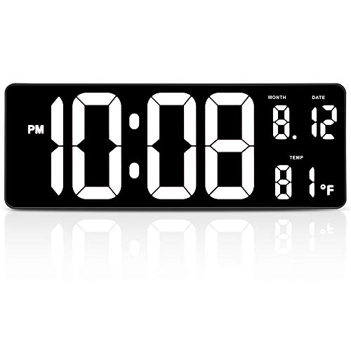 "DreamSky 14.5"" Extra Large LED Digital Clock with Date and Indoor Temperature Display. Oversize Desk Office Wall Cock with Fold Out Stand, Large Number Display. Auto DST Time Change. (White)"