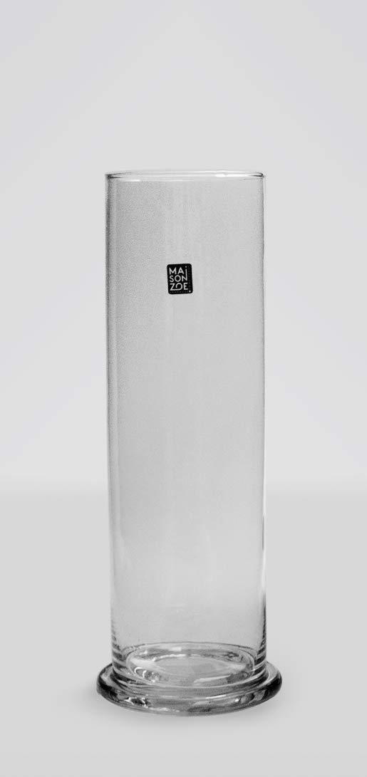 Maison Zoe 30 cm de Altura Jarr/ón de Cristal soplado y Hecho a Mano con Cilindro de 9 cm de di/ámetro Deco /& Boda /…