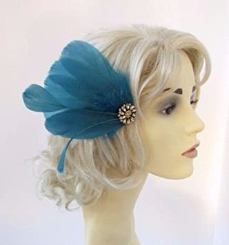 Teal Blue Green Gold Feather Fascinator Hair Clip Races Headpiece Vtg 1920s  4645  Amazon.co.uk  Beauty 654f769f5e1