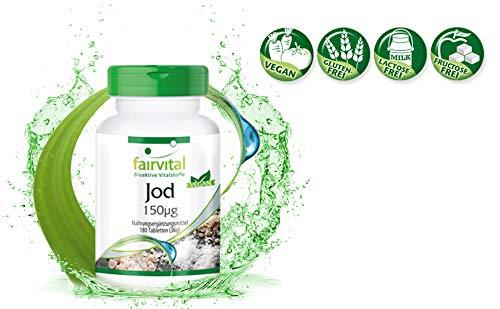Yodo - 180 Comprimidos - Altamente concentrado (150 mcg) - De yoduro de potasio - ¡Calidad Alemana garantizada!