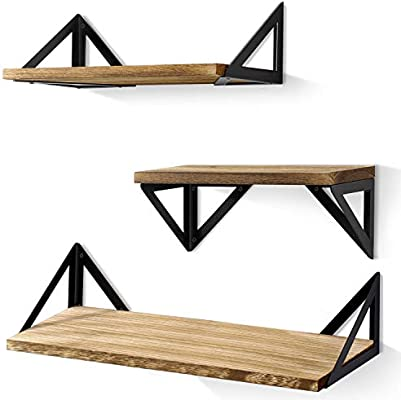 BAYKA Floating Shelves Wall Mounted, Rustic Wood Wall Shelves Set of 3 for  Bedroom, Bathroom, Living Room, Kitchen