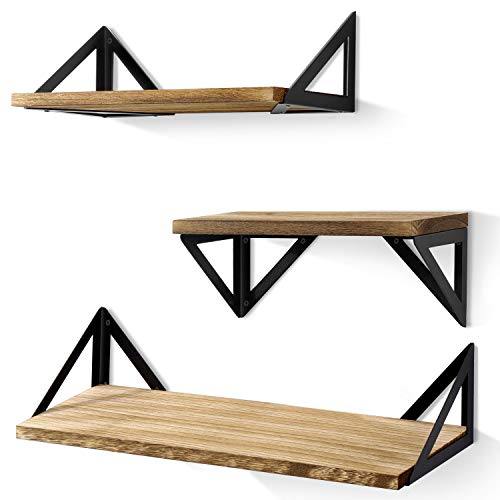 3 Shelf Wall - BAYKA Floating Shelves Wall Mounted, Rustic Wood Wall Shelves Set of 3 for Bedroom, Bathroom, Living Room, Kitchen