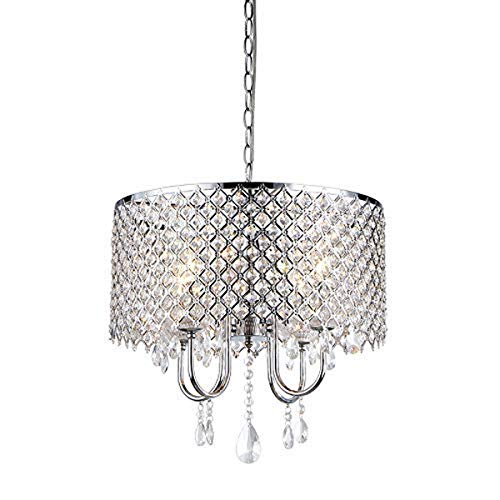 Whse of Tiffany RL5633 Deluxe Crystal Chandelier, 9″ x 17″ x 17″, Silver