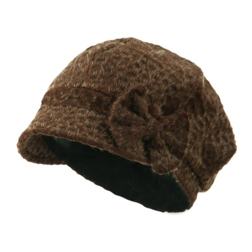 Jeanne Simmons Animal Print Bow Accent Newsboy Hat - Coffee OSFM