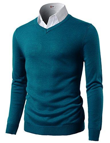 H2H Men's 100% Cashmere V-Neck Sweater BLUE US M/Asia L