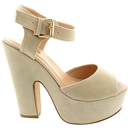 Womens Pumps Evening Ankle Strap Shoes Platform Party Faux Suede Sandals - Nude - 9 - 40 - CD0244K