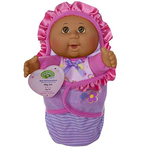 Cabbage Patch Kids Official, Newborn Baby African American Girl Doll - Comes with Swaddle Blanket and Unique Adoption Birth Announcement ()