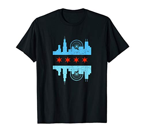 Chicago Skyline Flag T-Shirt - Windy City Tee ()