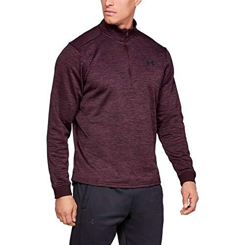 Apparel Fleece Zip - Under Armour Men's Armour Fleece 1/2 Zip, Dark Maroon (600)/Black, Medium