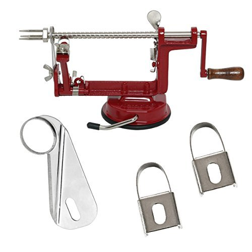 Apple Peeling Machine - Johnny Apple Peeler with Suction Base VKP1010 by VICTORIO + (1) additional Coring &Slicing Blade VKP1010-2 + (2) additional Peeling Knifes VKP1010-1