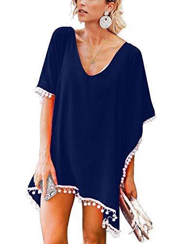 Adreamly Women's Pom Pom Trim Kaftan Stylish Chiffon Swimsuit Beach Cover up Free Size Navy Blue