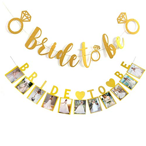 Bride to BE Gold Glitter Banner with Diamond Ring Detail Bride to Be Photo Banner for Wedding Decoration, Bridal Shower, Bachelorette Party Decoration