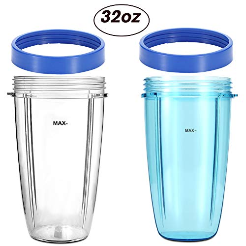 Compatible Replacement Parts for NutriBullet by KORSMALL- 2Pack 32oz Colossal Blender Cups(Blue and Clear) with 2 Blue Lip Rings -  32CUPBLUE-060801
