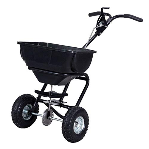 Goplus Broadcast Spreader Builder Fertilizer Push Walk Behind, Black Garden Seeder by Goplus