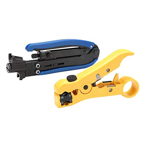 Water-chestnut Coaxial Cable Crimper Stripper Compression Hand Tool Coax Cable Strippers Tool by Water-chestnut