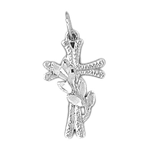 14K White Gold Methodist Cross Pendant Necklace - 23 - Methodist Gold Cross 14k White