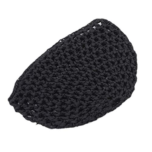 Beiswe Elastic Soft Hair Net Cap Elastic Rayon Polyester Short Hair Net Caps Snoods for Women Accessories (Black)