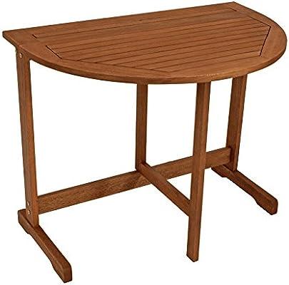 Mesa plegable semicircular (90 x 60 cm, madera de eucalipto con ...