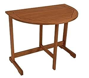 Mesa plegable semicircular (90x60cm, madera de eucalipto con certificación FSC)