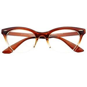 New Womens Half Tinted Modern Retro Clear Lens Cat Eye Glasses Frames (Brown)