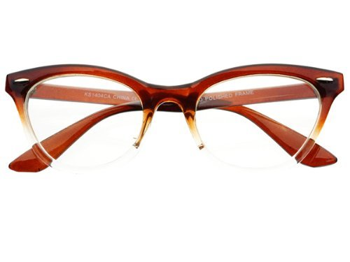 New Womens Half Tinted Modern Retro Clear Lens Cat Eye Glasses Frames (Brown)