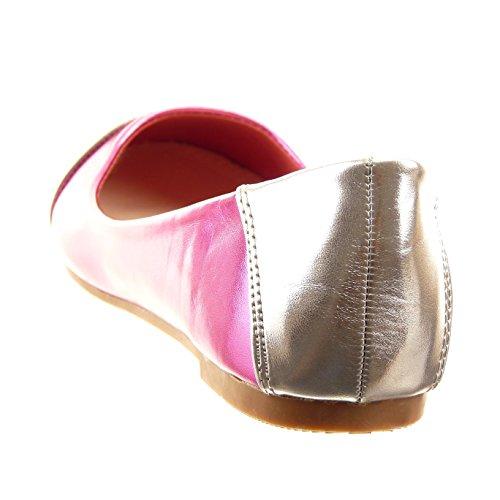 Sopily - Zapatillas de Moda Bailarinas Tobillo mujer brillantes Talón Tacón ancho 1 CM - plantilla sintético - Azul