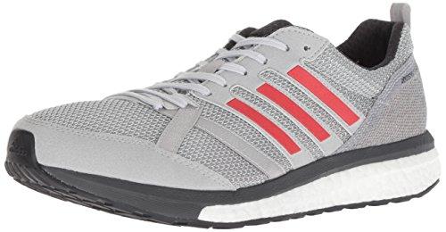 adidas Men's Adizero Tempo 9 Running Shoe, Grey/hi-res red/Carbon, 10.5 M US