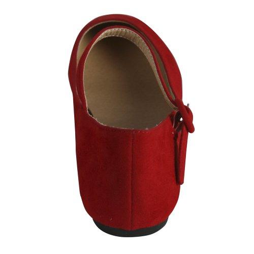 Bonnibel Dobie-4 Kvinnor Balett Lägenheter Med En Rem, Färg: Röd, Storlek: 6,5