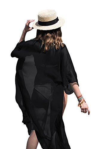 NORAME Women Chiffon 3/4 Sleeves Beach Dress Kimono Cardigan Swimsuit Cover Up (One size Fits US XS-L, Black)
