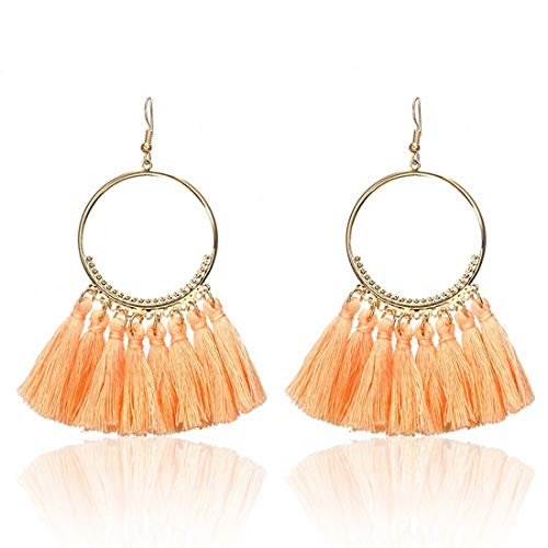 - IDB Delicate Fringe Hoop Tassel Earrings with a Large 3 13/16
