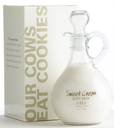 Farmhouse Fresh 10 oz Sweet Cream Body Milk in decorative cruet bottle