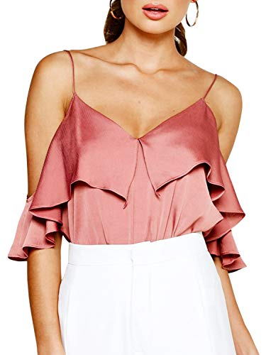 Glamaker Women's Adjustable Strap Off Shoulder Ruffle Sleeve Silk Satin Cami Tank Top Blouse Brick Red ()