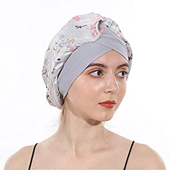 DuoZan Women's Soft Silky Satin Turban Elastic Wide Band Satin Bonnet Night Sleep Hat Hair Loss Cap One Grey