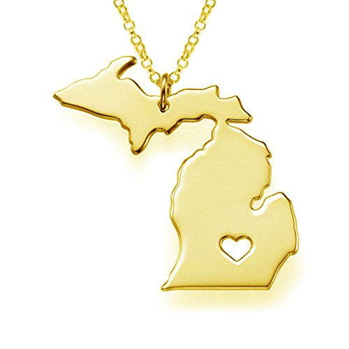 Joyplancraft MI State Necklace, Gold Michigan State Necklace,State Shaped Necklace,MI Charm State Necklace,Personalized MI Necklace With A Heart