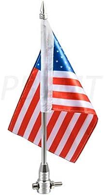 PBYMT Motorcycle Chrome 6 x 9 American Flag USA Pole Luggage Rack Mount Flag Compatible for For Honda Harley Kawasaki Suzuki Yamaha