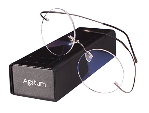 Agstum Pure Titanium Round Prescription Rimless Glasses Frame 46mm (Grey, - Glasses Rimless Round