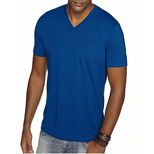 Next Level Apparel 6440 Mens Premium Fitted Sueded V-Neck Tee - Royal, Medium ()